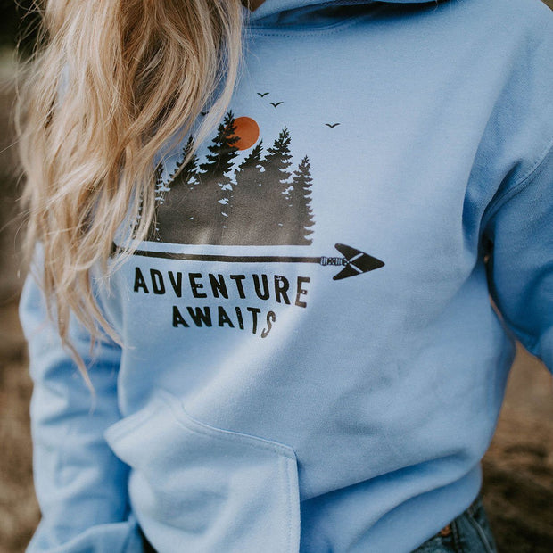 Adventure Awaits Hoodie Hoodie Lands Light Blue S