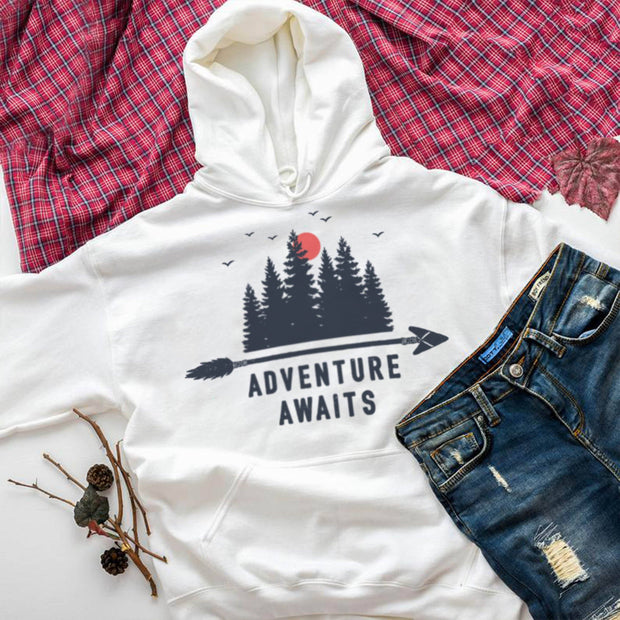 Adventure Awaits Hoodie Hoodie Printify White L