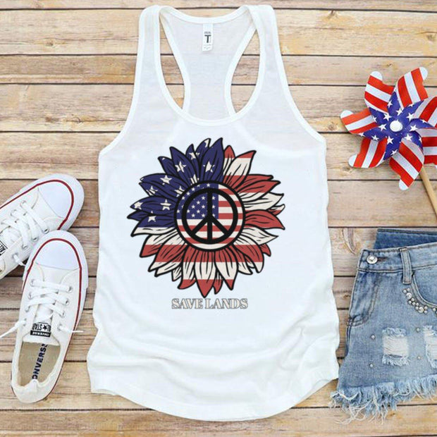 American Sunflower Tank 1533 Lands Solid White L