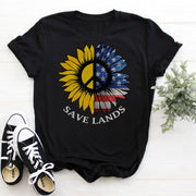 American Sunflower Tee T-Shirt Printify Black L