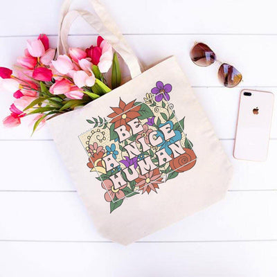 Be A Nice Human Tote Bag Q600 Lands