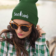 Save Lands Beanie Hats Printify Forest Green One size