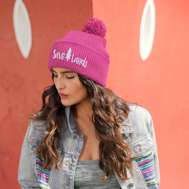 Save Lands Beanie Hats Printify Neon Pink One size