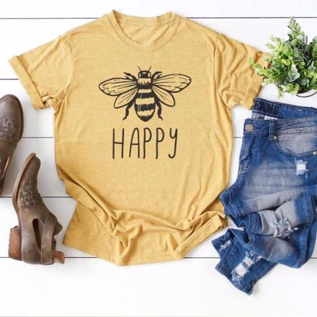 Bee Happy Tee T-Shirt Printify Gold L