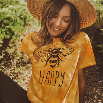Bee Happy Gold Tie Dye Tee Tie Dye Lands S