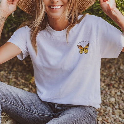 Save Lands Butterfly Pocket Tee 5000 Lands White S