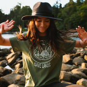Save Lands Cabin Tee T-Shirt Printify Military Green S