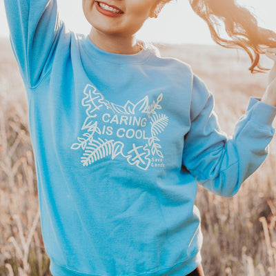 Caring is Cool Crewneck Sweatshirt 18000 Lands Carolina Blue L