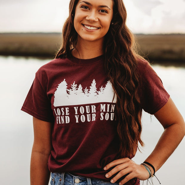 Lose Your Mind Find Your Soul Tee 5000 Lands Maroon S
