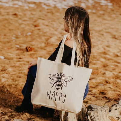 Bee Happy Tote Bag Q600 Lands