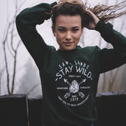 Stay Wild Forest Department Crewneck Sweatshirt Sweatshirt Printify Forest Green L