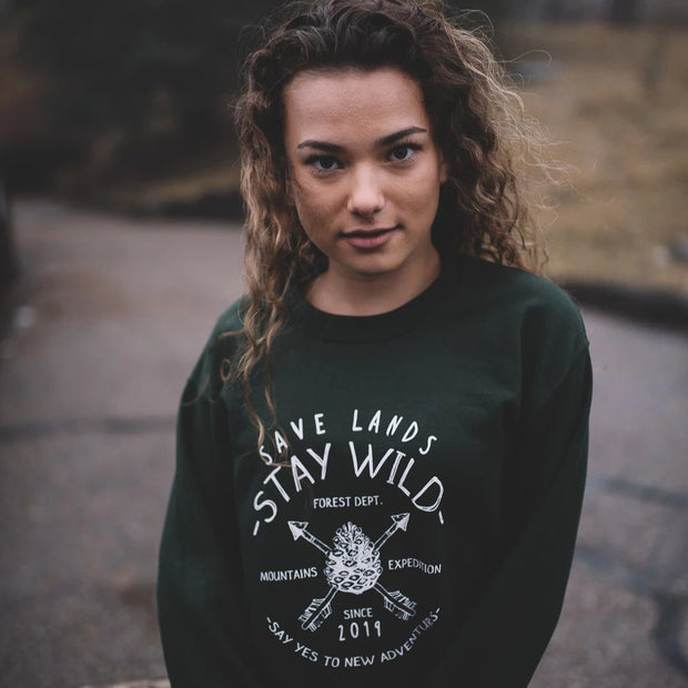 Stay Wild Forest Department Crewneck Sweatshirt Sweatshirt Printify