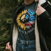 American Sunflower Tee T-Shirt Printify Dark Heather S