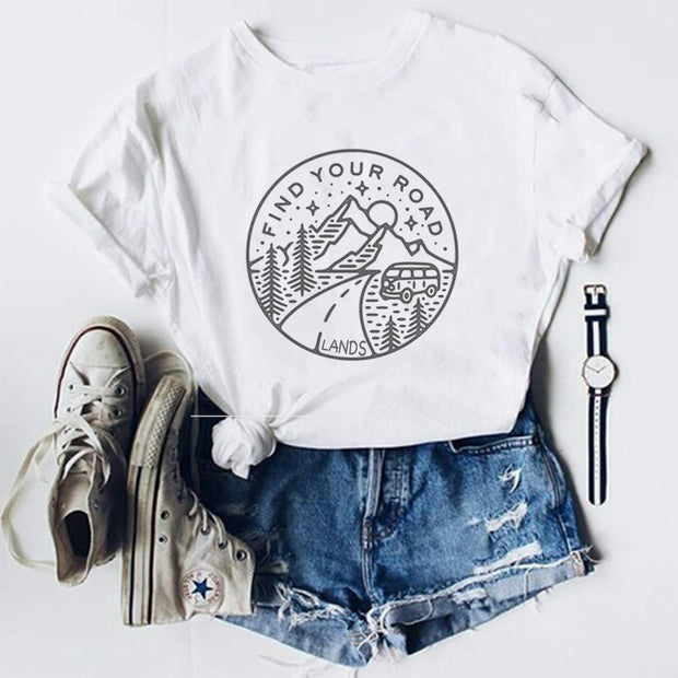 Lands Find Your Road Tee T-Shirt Printify White L