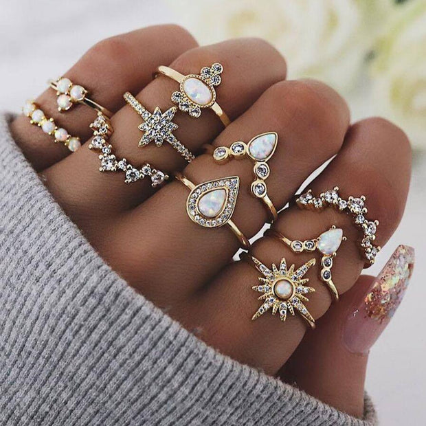 Golden Stars Stacking Ring Set Jewelry Lands