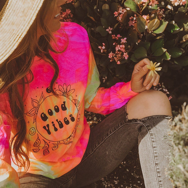 Good Vibes Fluorescent Swirl Tie Dye Long Sleeve Tie Dye Lands