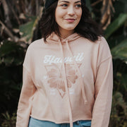 Hawaii Crop Top Hoodie 7502 Lands S Peach Crop