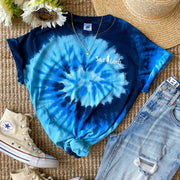Simple White Logo Ocean Tie Dye Tee 1000 - OCEAN Lands
