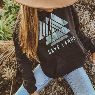 Save Lands Triangle Hoodie Hoodie Printify Black L