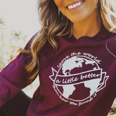 Better World Long Sleeve Tee Long-sleeve Printify Maroon S