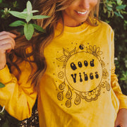 Good Vibes Only Long Sleeve Tee Long-sleeve Printify Gold L