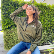 Simple White Logo Military Green Quarter Zip Wind Breaker EXP54LWP - MILITARY GREEN Lands