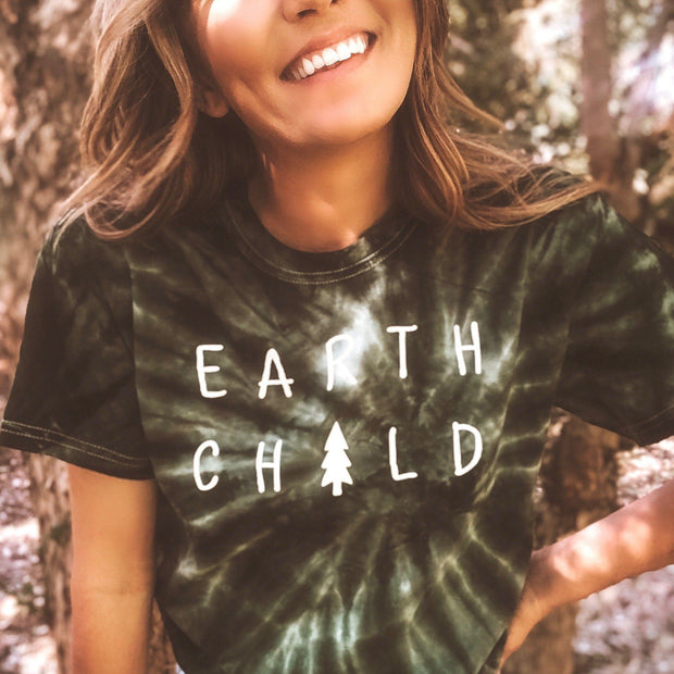Earth Child Green Tie Dye Tee 1000 GREEN SPIDER Lands S Green Tie Dye