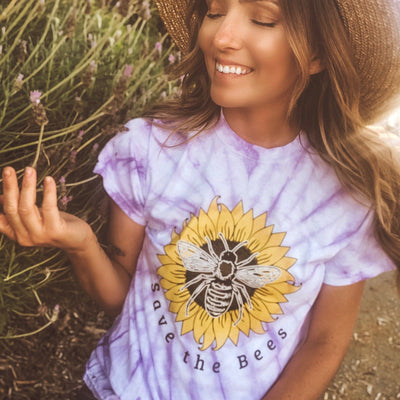 Save The Bees Sunflower Lavender Tie Dye Tee 200CY Lands S Lavender