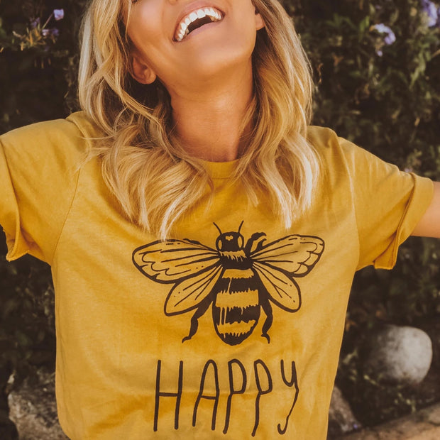 Bee Happy Tee T-Shirt Printify