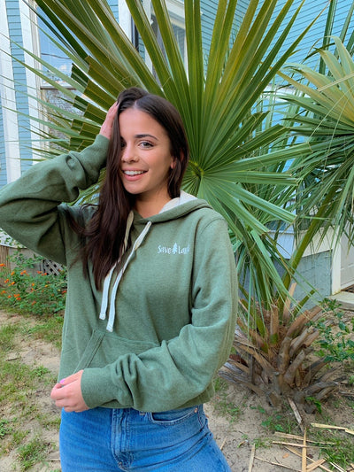Save Lands X Champion Simple White Logo Military Green Hoodie AO600 - GREEN LUCK HEATHER Lands