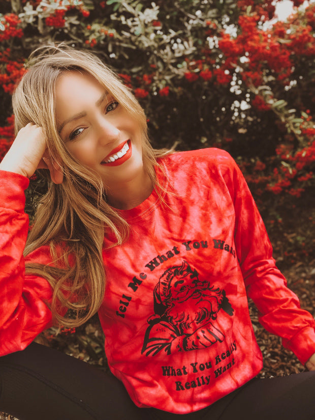 Red Tell Me What You Want (Black Print) Long Sleeve Tie Dye Lands