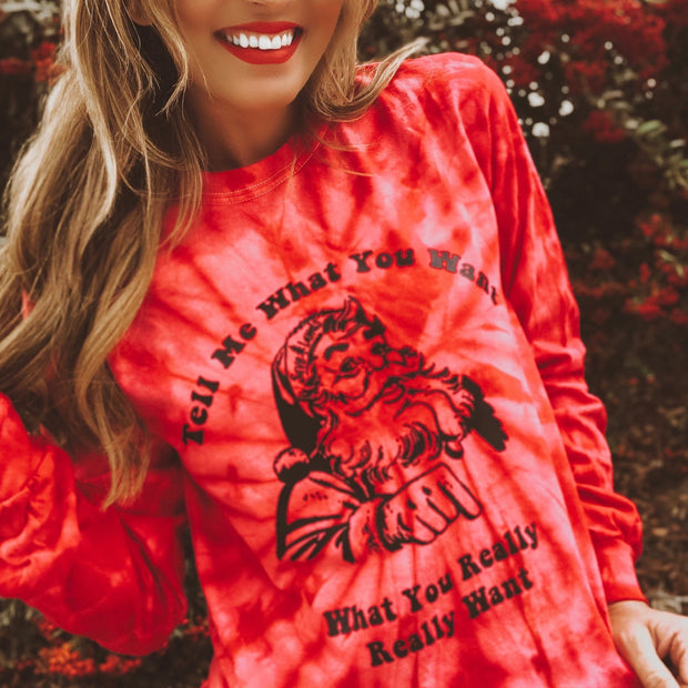 Red Tell Me What You Want (Black Print) Long Sleeve Tie Dye Lands S