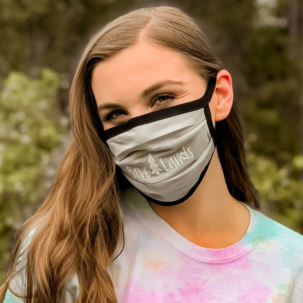 Simple White Logo Black Tie Dye Mask 95295 - CRYSTAL WASH BLACK Lands