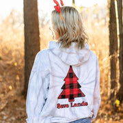 Red Plaid Tree Silver Tie Dye Hoodie 8777 - SPIDER SILVER Lands
