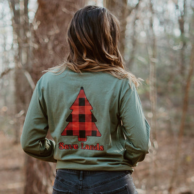 Red Plaid Tree Long Sleeve (Back Print) 2400 Lands Military Green S