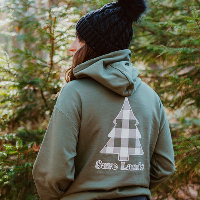 Military Green White Plaid Tree Hoodie (Back Print) 18500 Lands