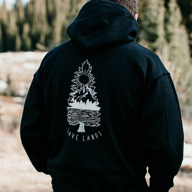 Men's Tree Scene Hoodie Hoodie Printify Black L