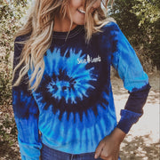 Simple White Badge Ocean Tie Dye Long Sleeve 2000 BLUE OCEAN Lands