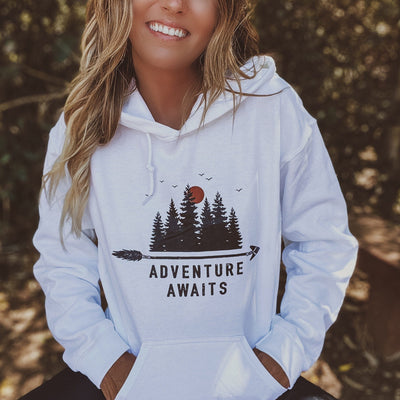 Adventure Awaits Hoodie 18500 Lands White L
