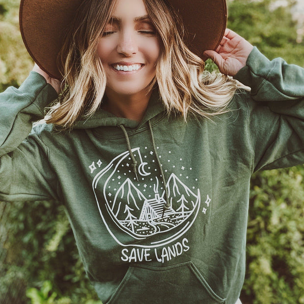 Save Lands Cabin Hoodie 18500 Lands Military Green L