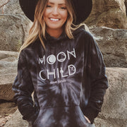 Moon Child Black Tie Dye Hoodie 8777 - SPIDER BLACK Lands S