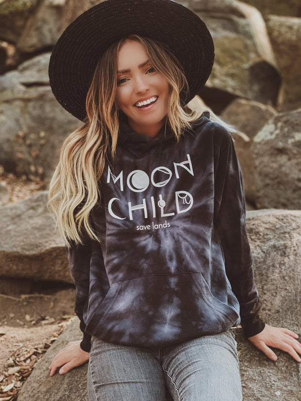 Moon Child Black Tie Dye Hoodie 8777 - SPIDER BLACK Lands