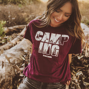 Camping Silhouette Tee 5000 Lands Maroon S