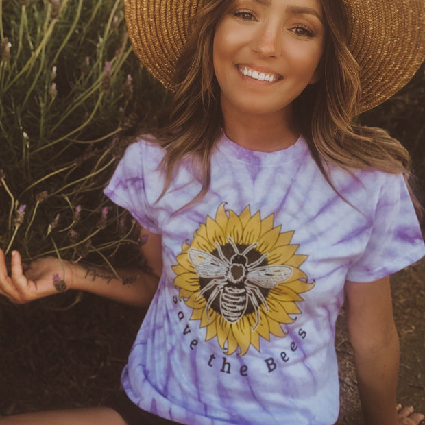 Save The Bees Sunflower Lavender Tie Dye Tee 200CY Lands
