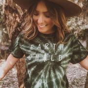 Earth Child Green Tie Dye Tee 1000 GREEN SPIDER Lands