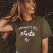 Powered By Plants White Print Tee 5000 Lands Military Green S