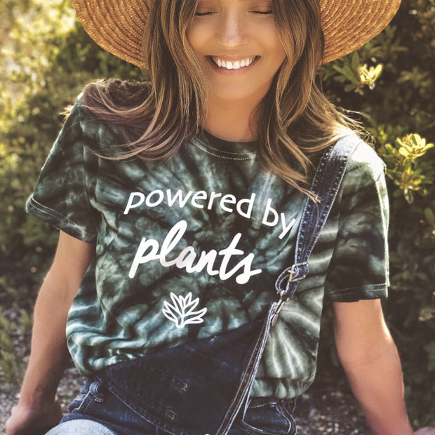 Powered by Plants Green Tie Dye Tee 1000 GREEN SPIDER Lands S Green Tie Dye