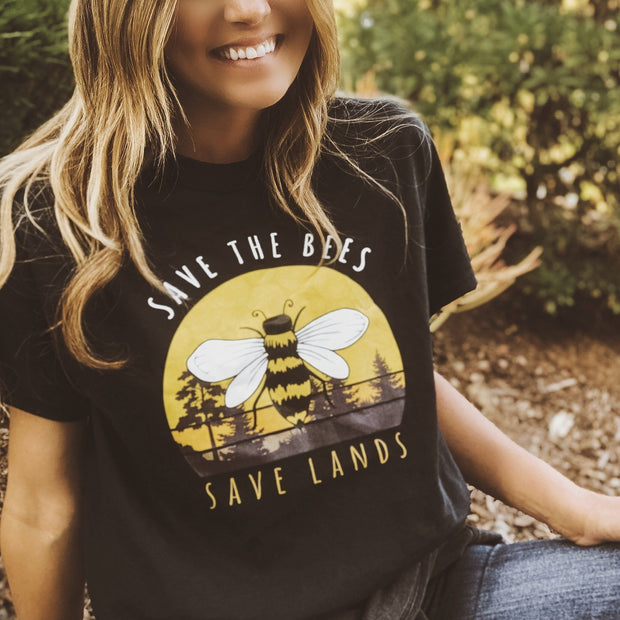 Vintage Save the Bees Tee 5000 Lands Black S