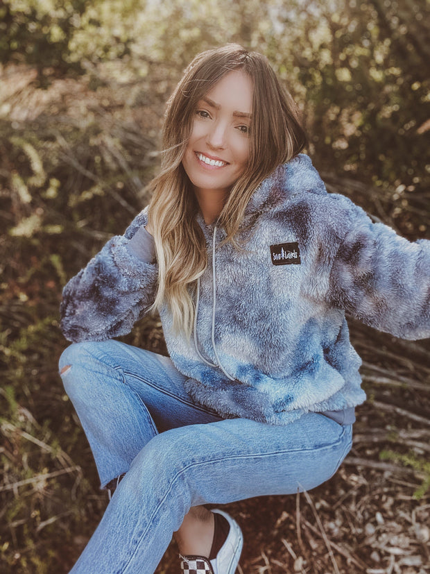 PREORDER Indigo Tie Dye Save Lands Hooded Sherpa Sherpa Lands