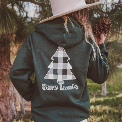 Forest White Plaid Tree Hoodie (Back Print) 18500 Lands
